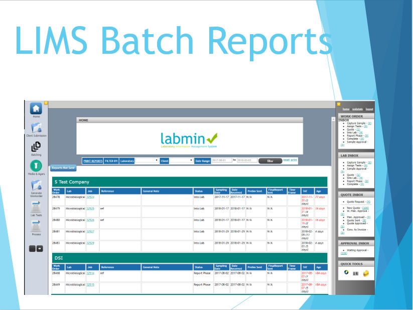 LIMS Batch Reports