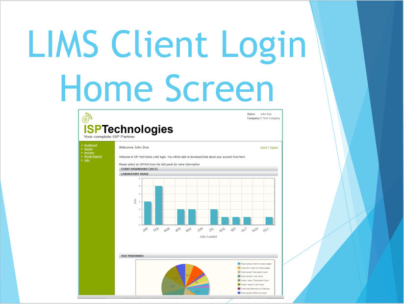 LIMS Client Login Home Screen