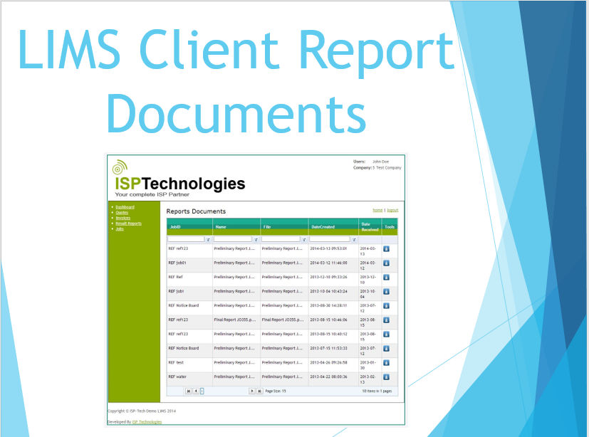 LIMS Client Report Documents