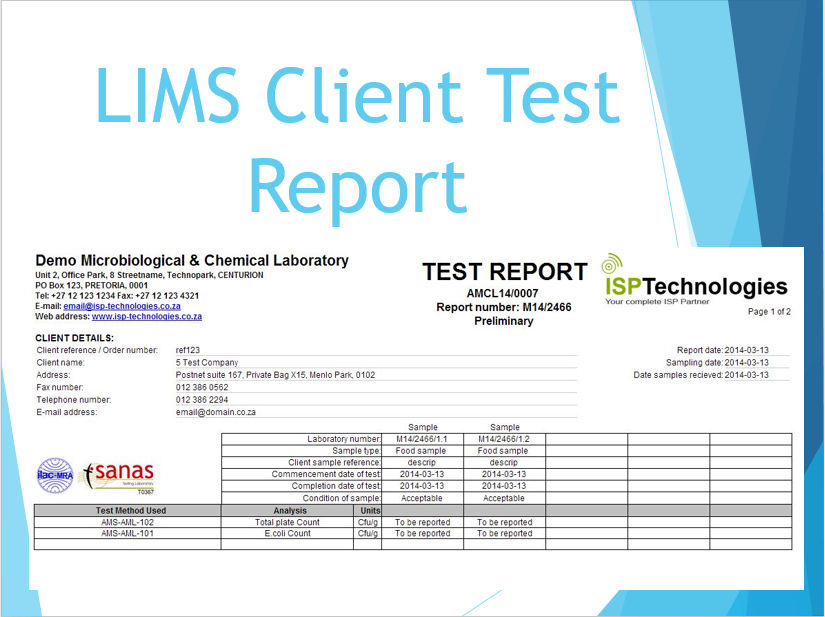 LIMS Client Test Report