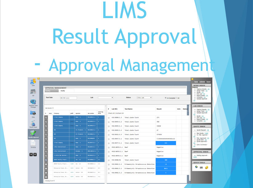 LIMS Result Approval - Approval Management