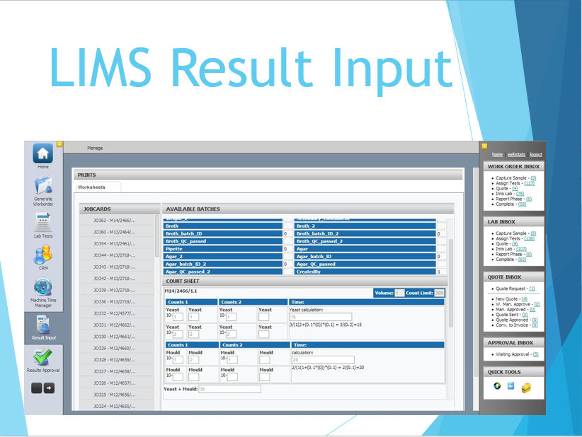LIMS Result Input