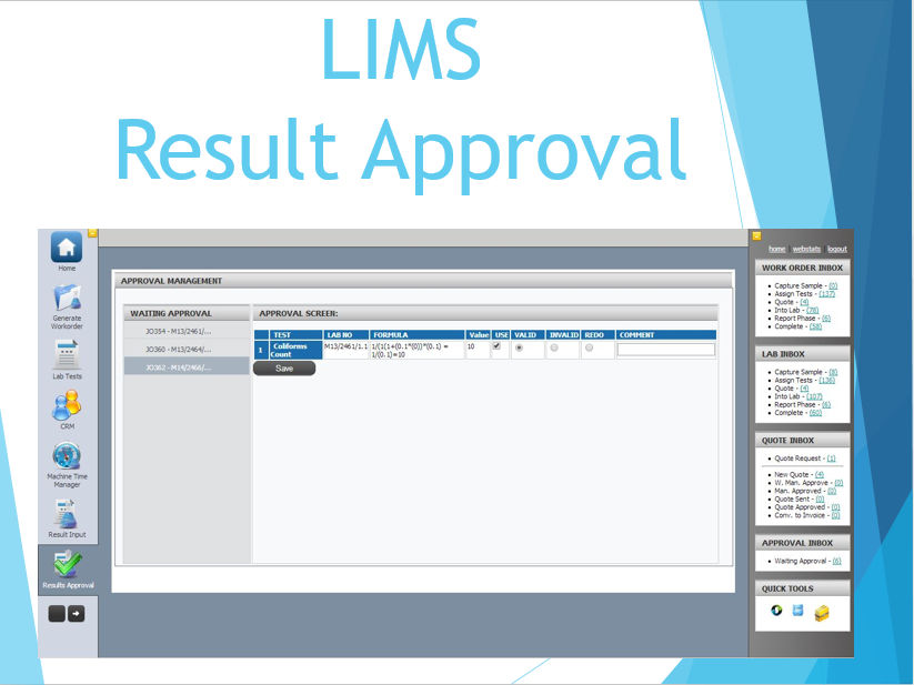 LIMS Result Approval