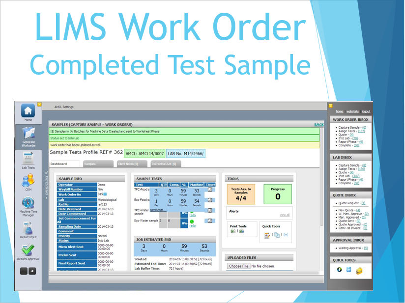 LIMS Work Order - Complete Test Sample
