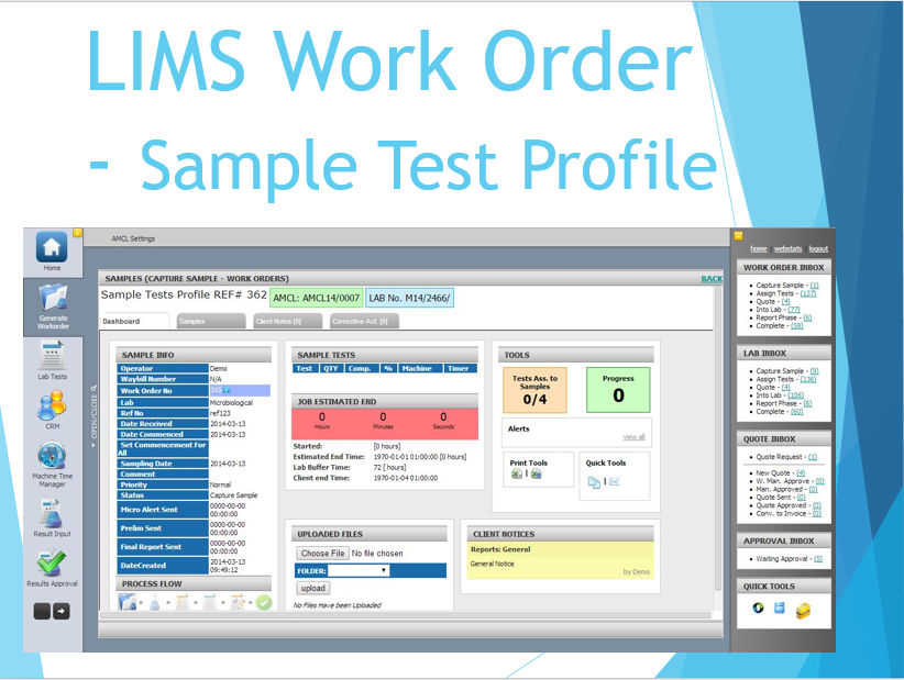 LIMS Work Order - Sample Test Profile